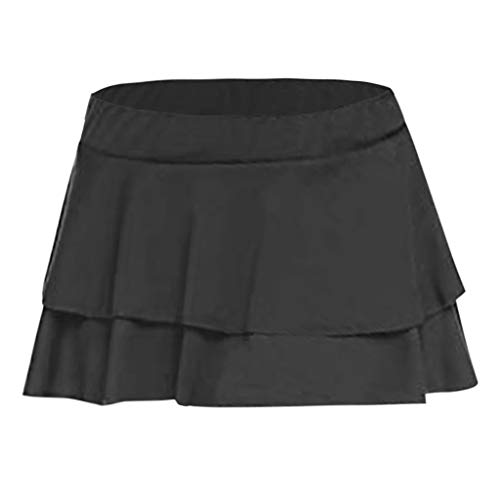 TIFENNY Pleated Club Short Skirt for Womens Fashion Layering Low-Waisted Sexy Party and Evening Mini Dresses Black