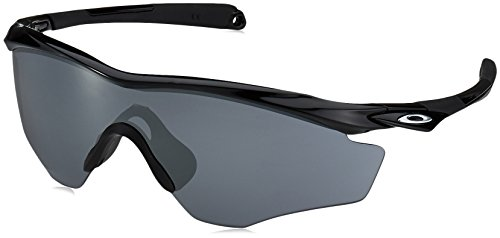 Oakley Men's OO9343 M2 Frame XL Shield Sunglasses, Polished Black/Black Iridium Polarized, 45 ()