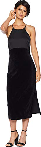 Juicy Couture Women's Track Stretch Velour Satin Mix Dress Pitch Black ()