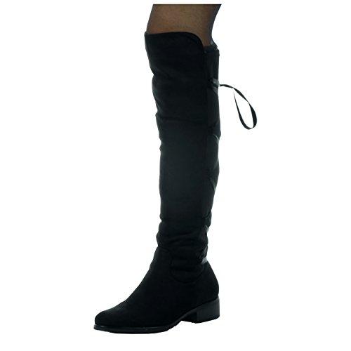 Angkorly - Zapatillas de Moda Botas cavalier flexible mujer Codones de saten Talón Tacón ancho alto 3.5 CM - plantilla Forrada de Piel Negro
