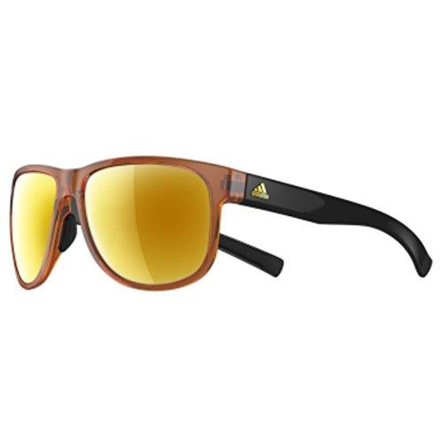 adidas Sprung Non-Polarized Iridium Round Sunglasses, Brown Shiny/Black, 60 -