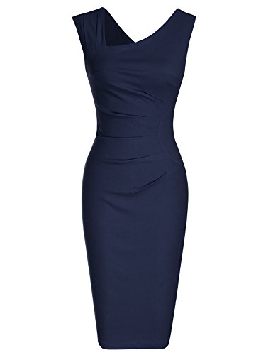 MUXXN Women's 1950s Sleeveless Slim Business Pencil Dress (M,Blue)
