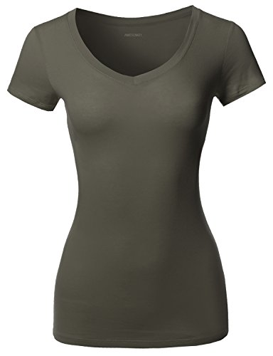 Solid Basic V-Neck Short Sleeves Top Olive Size 3XL