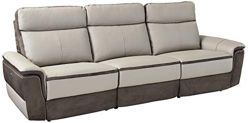 Homelegance Laertes Two-Tone Power Reclining Sofa Top Grain Leather Fabric  Match, Light Grey