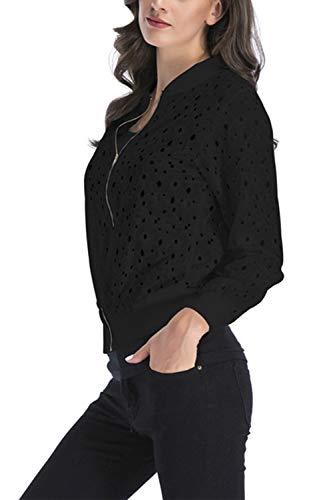 Lace Cardigan Donne Basket Black Giacca Aperta Yulinge Le Outwear Piena Zip RXqHaqw