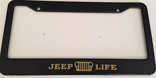 Jeep Life with Grill - Automotive Black with Gold License Plate Frame - Off Road Wrangler