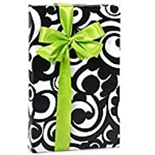 Black & White BOLD SCROLL Damask Gift Wrapping Paper - 16 Foot Roll