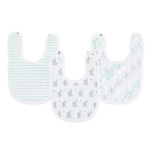 "Snap Bib, 100% Cotton Muslin, Soft Absorbent 3 Layers, Adjustable, 9"" X 13"", 3 Pack, Baby Star ()"