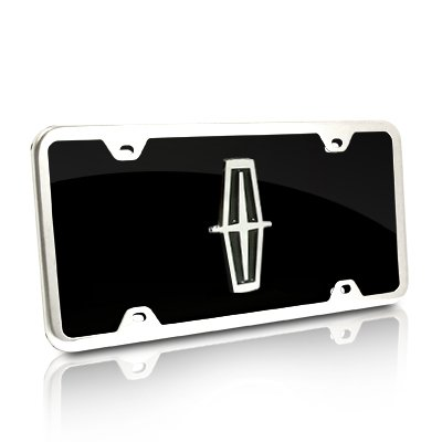 Au-Tomotive Gold, INC. Lincoln Black Acrylic License Plate with Chrome Frame Kit ()