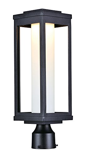 Maxim 55900SWBK Salon LED 1-Light Outdoor Post, Black Finish, Satin White Glass, PCB LED Bulb , 0.288W Max., Damp Safety Rating, Shade Material, Rated - Maxim Square Chandelier