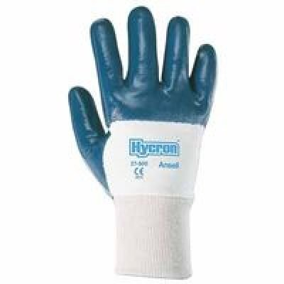 Jersey Grip Extra Gloves (Ansell Size 8 Hycron® Heavy Duty Multi-Purpose Cut And Abrasion Resistant Blue Nitrile Palm Coated Work Gloves With Jersey Liner And Knit Wrist)