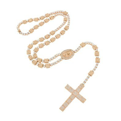Amazoncom Rose Gold Rosary Cross Necklace 14K Finish Lab Diamond