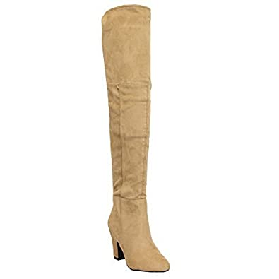 Kelsi Damen Stiefel Lang Overknee Wildleder-Optik Schuhe von Rot - Y808, 3 UK/36 EU