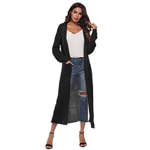 TOPUNDER Autumn Long Sleeve Open Cape Casual Coat for Women Blouse Kimono Jacket Cardigan (Jacket Black Cardigan Beaded Top)