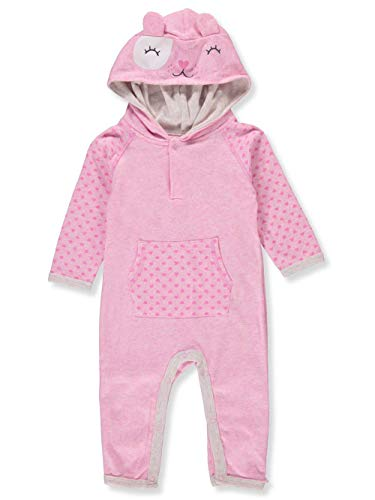 Bon Bebe Baby Unisex Hooded Longsleeve Coverall, Pink, 0-3 Months