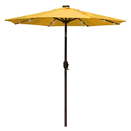 Sundale Outdoor 7 ft Solar Powered 24 LED Lighted Patio Umbrella Table Market Umbrella with Crank and Push Button Tilt for Garden, Deck, Backyard, Pool, 8 Steel Ribs, Polyester Canopy (Yellow) For Sale