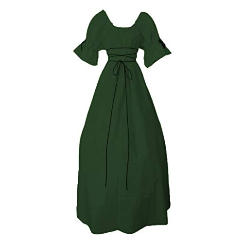 Ez-sofei Women's Medieval Renaissance Irish Dress Retro Gown Cosplay Costume Short Sleeve S Green ()