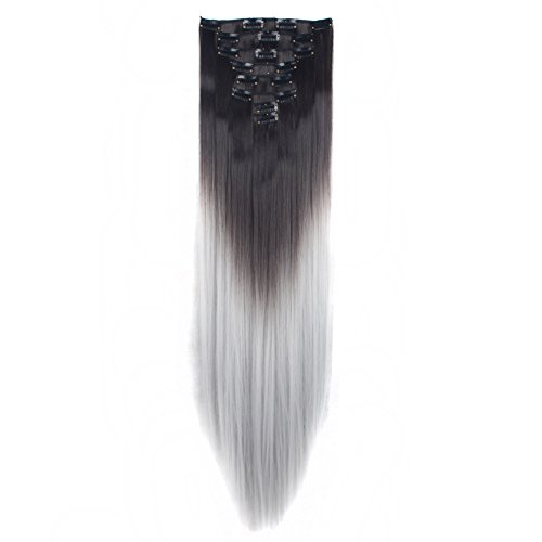(LHFLIVE Womens 18 Clips 8pcs Full Head Hair Extensions 26 Inch Long Straight Dark Brown to Silver Grey Hairpiece)