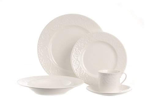 Red Vanilla FR900-905 5 Piece Riviera Place Setting, White
