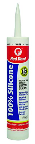 (Red Devil 0816 Architectural Grade 50 Year 100% Silicone Sealant, White, 9.8 oz)