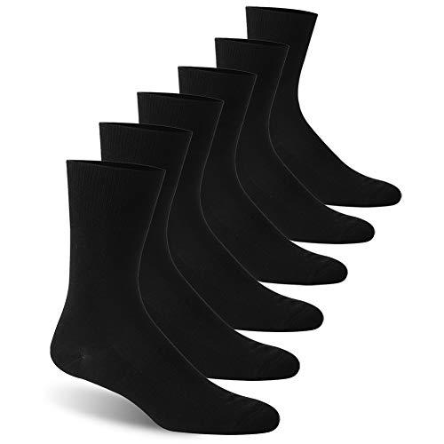 Facool Ankle Socks Diabetic, Men Women Moisture Wicking No Blister Anti Skid Cotton Cushion Non Binding Socks 6 Pairs Black X-Large (Male Diabetic Socks)