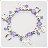 Girls / Ladies Purple Horse Stretch Bracelet