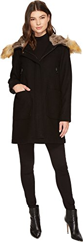 Vince Camuto Womens Faux Fur Trim Wool L8371 Black SM (US 4-6) One Size