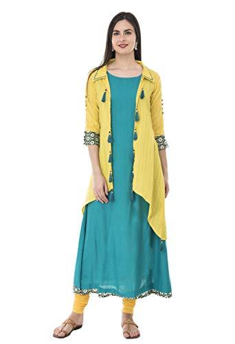 - SABHYATA Womens Kurta Indian Kurtis for Women Casual Tunic Kurti Tops Long Dress (X-Large, Yellow/Green Collar Neck)