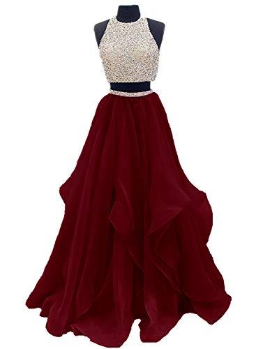 Dressytailor Two Piece Floor Length Organza Prom Dress Beaded Evening Gown Burgundy