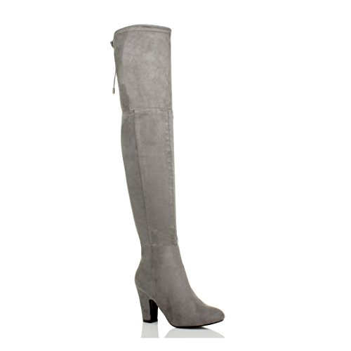 Ajvani Womens Ladies high Heel Zip tie up Riding Over The Knee Thigh Boots Size Grey