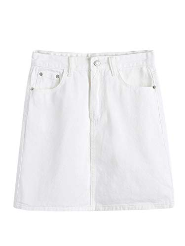 PERSUN Women's Faux Suedette Button Closure Plain A-Line Mini Skirt (Small, Jeans-White)