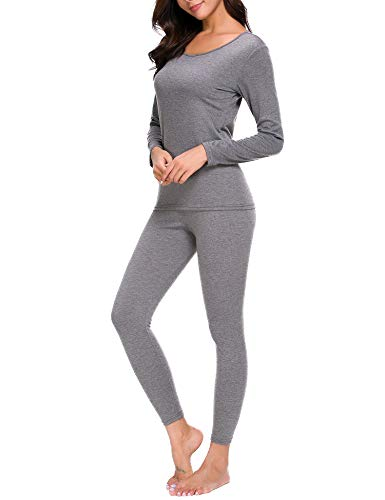 CzDolay Plus Size Thermal-Knit Pajama Women Two Pieces Long Sleeve Shirt with Bottoms (Gray, XXL) (Thermal Womens Gray)
