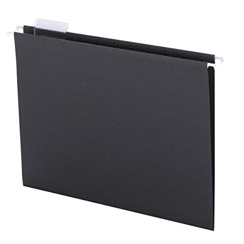 Smead Hanging File Folder with Tab, 1/5-Cut Adjustable Tab, Letter Size, Black, 25 per Box (64062) (File Black Hanging Folders)