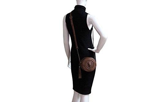 FERETI sac à main ronde pour femme marron brun Cognac avec lion 3D en cuir véritable