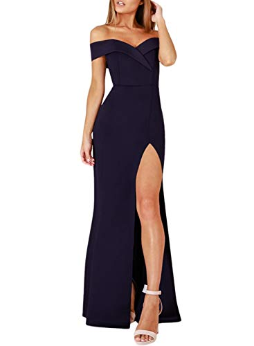 Evening Long Dress - ZKESS Women's Floor Length Off Shoulder Sweetheart Side Split Long Evening Dress Navy Purple X-Large