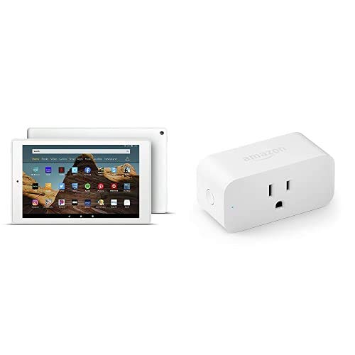 Fire HD 10 Tablet 64GB White with Amazon Smart Plug, works with Alexa