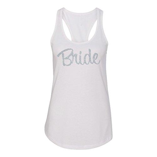 Bride Tank top with Silver Glitter Print (M (4-6), White) (Top Print Glitter)