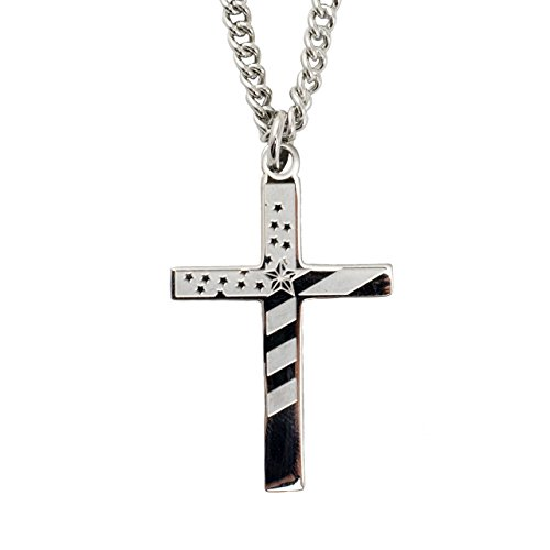 l Flag Cross Necklace-Proverbs 30:5 ()