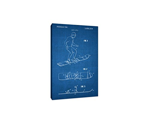 Snowboard Canvas (White on Blue Graph) - Sports Patents - 30x20 Gallery Wrapped Canvas Wall Art (Custom X-wide Mens Snowboard)