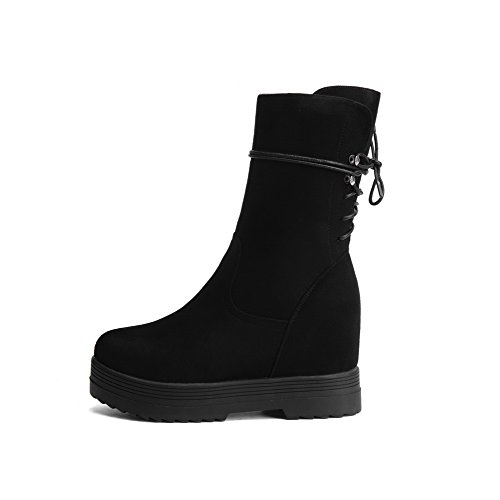 Heels Toe AmoonyFashion Closed Round High Boots frosted Solid Top Black Mid Women's wFUwHT