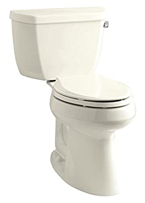 """Kohler K-3713-RA-96 Highline Classic Comfort Height Two-Piece Elongated Toilet with 10"""" Rough-In, Right-Hand Trip Lever, Biscuit"""