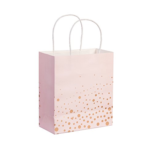 Ling's moment Set of 12 Rose Gold Polka Dots Pink Gift Bags for Sweet 16 Party Goody Goodie Bags Pink and Gold Baby Shower Birthday Party Favors Roses Gift Bag