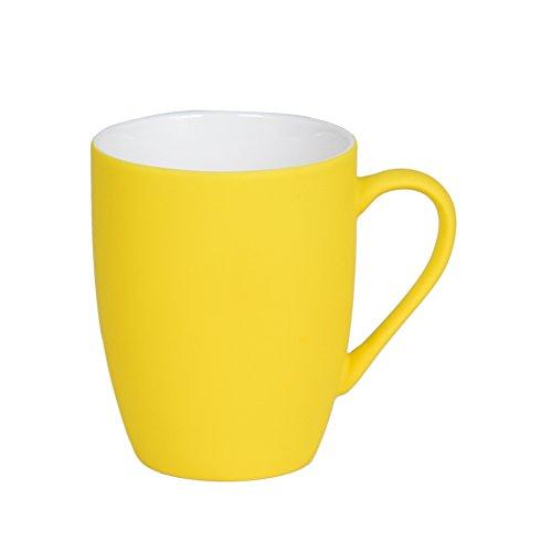 Caneca em porcelana amarela soft touch 350ml Lyor