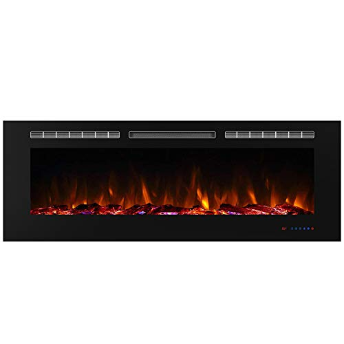 Valuxhome Electric Fireplace Recessed Heater w/Touch Screen Panel & Remote Control, 60″, Black