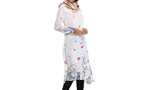 Robes Coolred-femmes Style Folk Musulman Équipé Islamic Coupe Décontractée Impression Blanc