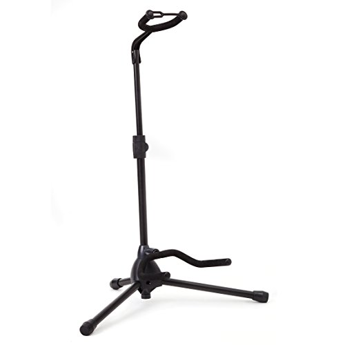 (Universal Guitar Stand by Hola! Music - Fits Acoustic, Classical, Electric, Bass Guitars, Mandolins, Banjos, Ukuleles and Other Stringed Instruments - Black )