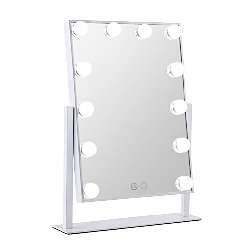 Orient Light LED Vanity Mirror Hollywood Style Makeup Tabletops, Large Cosmetic Mirror with 12 x 3W Super Bright Dimmable Touch Control Lighted Bulbs, -