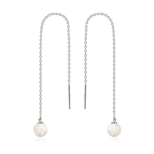 GEMSME 14K Solid White Gold 6mm Opal Dangle Earrings for women