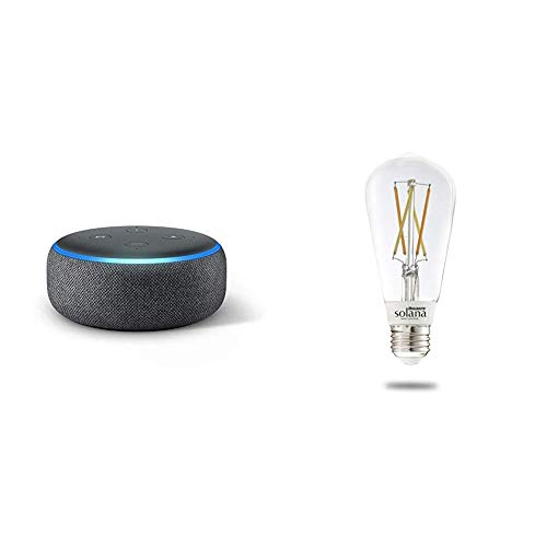 Echo Dot (3rd Generation) – Charcoal with 1 Bulbrite Solana SMART LED Filament WiFi Edison Smart Bulb