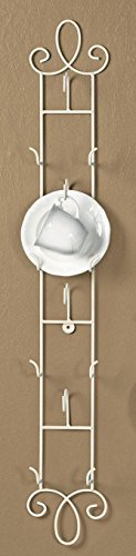 - 2PO Vertical Antique White Cup & Saucer Wall Rack - 35.5